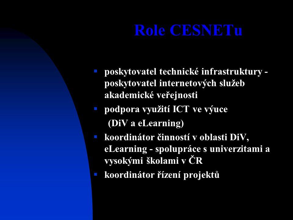 Role CESNETu  poskytovatel technické infrastruktury - poskytovatel internetových služeb akademické veřejnosti  podpora využití ICT ve výuce (DiV a eLearning)  koordinátor činností v oblasti DiV, eLearning - spolupráce s univerzitami a vysokými školami v ČR  koordinátor řízení projektů
