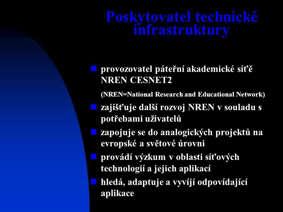 Poskytovatel technické infrastruktury provozovatel páteřní akademické síťě NREN CESNET2 (NREN=National Research and Educational Network) zajišťuje další rozvoj NREN v souladu s potřebami uživatelů zapojuje se do analogických projektů na evropské a světové úrovni provádí výzkum v oblasti síťových technologií a jejich aplikací hledá, adaptuje a vyvíjí odpovídající aplikace