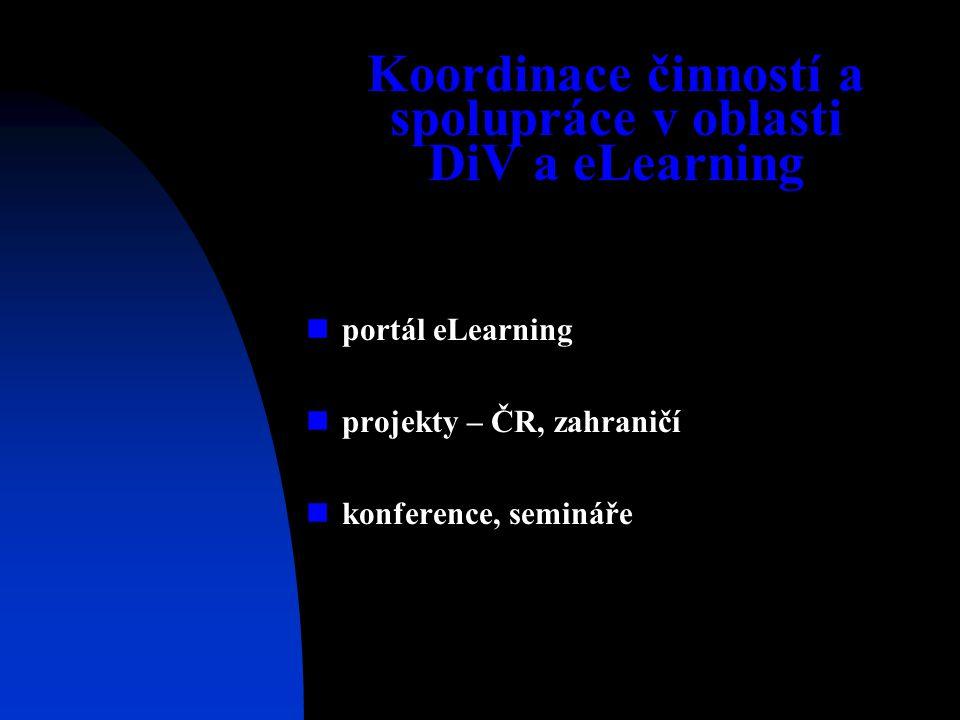 Koordinace činností a spolupráce v oblasti DiV a eLearning portál eLearning projekty – ČR, zahraničí konference, semináře