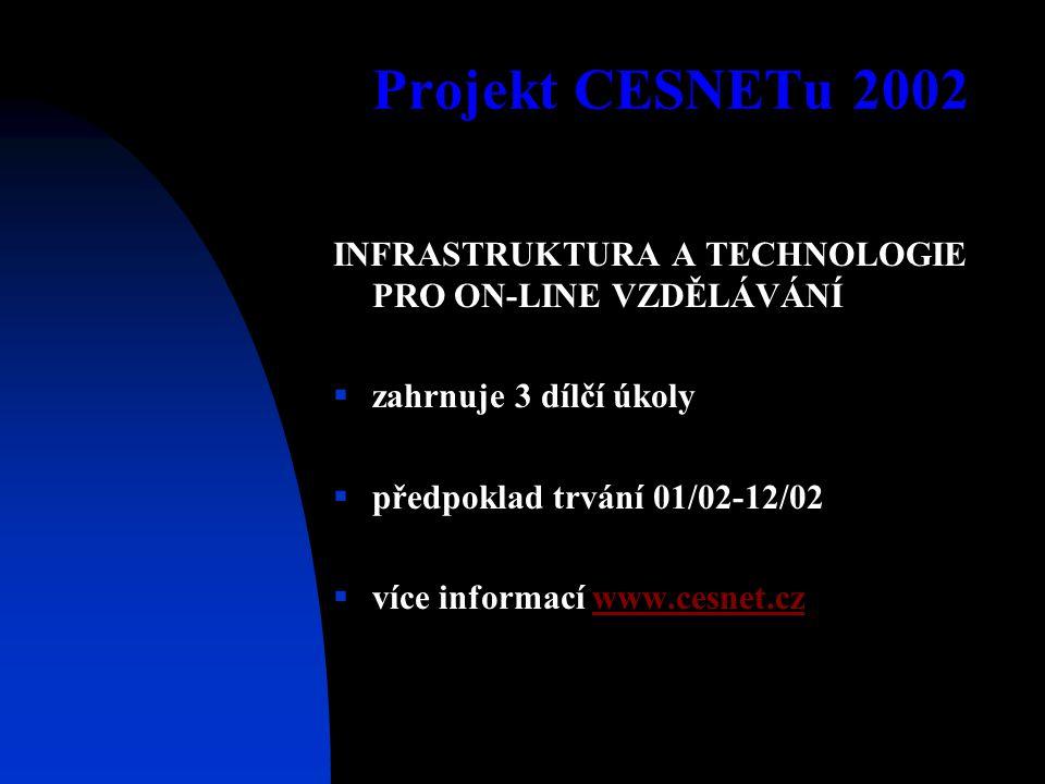 Projekt CESNETu 2002 INFRASTRUKTURA A TECHNOLOGIE PRO ON-LINE VZDĚLÁVÁNÍ  zahrnuje 3 dílčí úkoly  předpoklad trvání 01/02-12/02  více informací www.cesnet.czwww.cesnet.cz