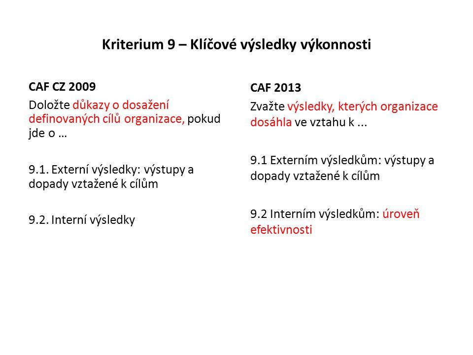 Kriterium 9 – Klíčové výsledky výkonnosti CAF CZ 2009 Doložte důkazy o dosažení definovaných cílů organizace, pokud jde o … 9.1.
