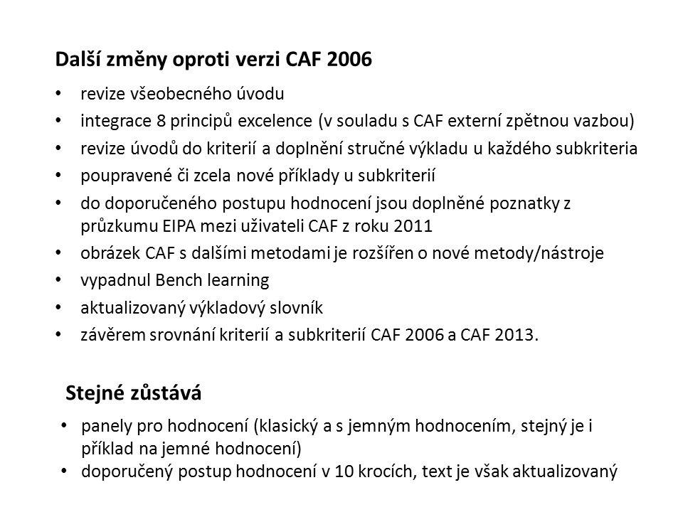 Další změny oproti verzi CAF 2006 revize všeobecného úvodu integrace 8 principů excelence (v souladu s CAF externí zpětnou vazbou) revize úvodů do kriterií a doplnění stručné výkladu u každého subkriteria poupravené či zcela nové příklady u subkriterií do doporučeného postupu hodnocení jsou doplněné poznatky z průzkumu EIPA mezi uživateli CAF z roku 2011 obrázek CAF s dalšími metodami je rozšířen o nové metody/nástroje vypadnul Bench learning aktualizovaný výkladový slovník závěrem srovnání kriterií a subkriterií CAF 2006 a CAF 2013.