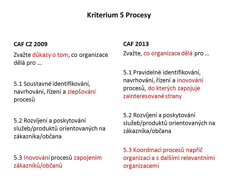 Kriterium 5 Procesy CAF CZ 2009 Zvažte důkazy o tom, co organizace dělá pro … 5.1 Soustavné identifikování, navrhování, řízení a zlepšování procesů 5.2 Rozvíjení a poskytování služeb/produktů orientovaných na zákazníka/občana 5.3 Inovování procesů zapojením zákazníků/občanů CAF 2013 Zvažte, co organizace dělá pro … 5.1 Pravidelné identifikování, navrhování, řízení a inovování procesů, do kterých zapojuje zainteresované strany 5.2 Rozvíjení a poskytování služeb/produktů orientovaných na zákazníka/občana 5.3 Koordinaci procesů napříč organizací a s dalšími relevantními organizacemi