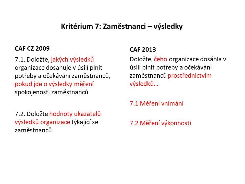 Kritérium 7: Zaměstnanci – výsledky CAF CZ 2009 7.1.