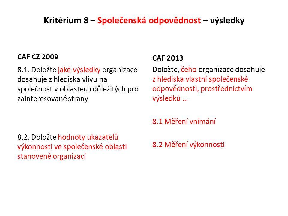 Kritérium 8 – Společenská odpovědnost – výsledky CAF CZ 2009 8.1.