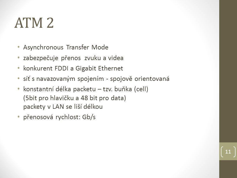 11 ATM 2 Asynchronous Transfer Mode zabezpečuje přenos zvuku a videa konkurent FDDI a Gigabit Ethernet síť s navazovaným spojením - spojově orientovaná konstantní délka packetu – tzv.