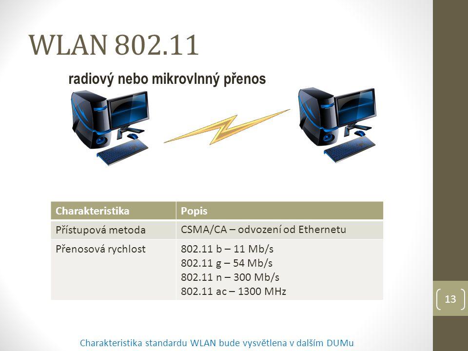 13 WLAN 802.11 CharakteristikaPopis Přístupová metoda CSMA/CA – odvození od Ethernetu Přenosová rychlost802.11 b – 11 Mb/s 802.11 g – 54 Mb/s 802.11 n – 300 Mb/s 802.11 ac – 1300 MHz Charakteristika standardu WLAN bude vysvětlena v dalším DUMu radiový nebo mikrovlnný přenos