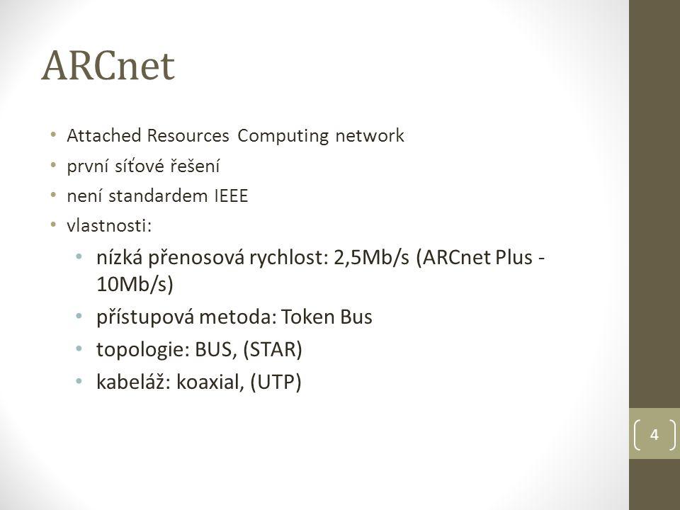 4 ARCnet Attached Resources Computing network první síťové řešení není standardem IEEE vlastnosti: nízká přenosová rychlost: 2,5Mb/s (ARCnet Plus - 10Mb/s) přístupová metoda: Token Bus topologie: BUS, (STAR) kabeláž: koaxial, (UTP)