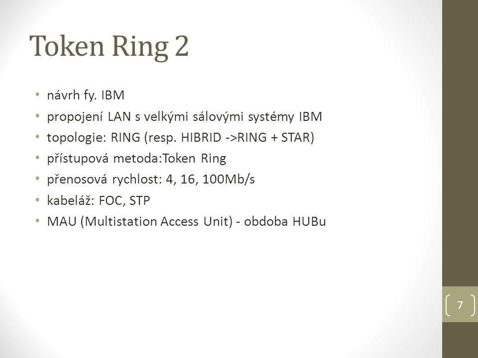 7 Token Ring 2 návrh fy. IBM propojení LAN s velkými sálovými systémy IBM topologie: RING (resp.