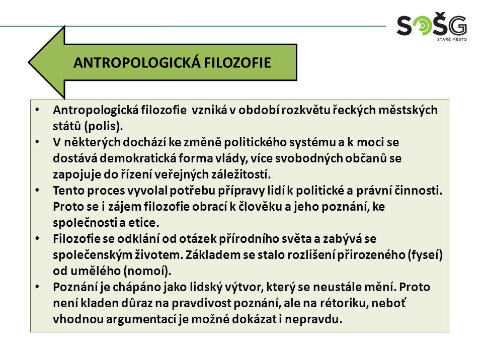 ANTROPOLOGICKÁ FILOZOFIE Antropologická filozofie vzniká v období rozkvětu řeckých městských států (polis). V některých dochází ke změně politického s