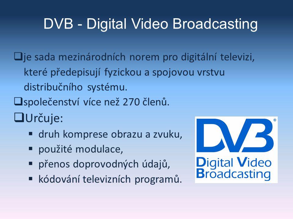 DVB - Digital Video Broadcasting  je sada mezinárodních norem pro digitální televizi, které předepisují fyzickou a spojovou vrstvu distribučního systému.