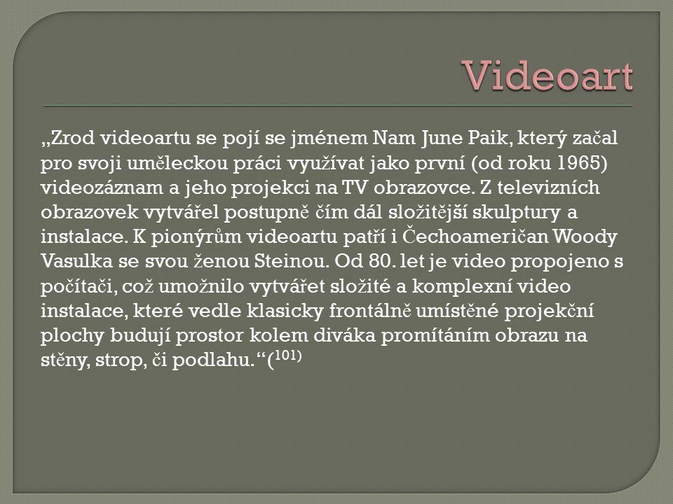 """""""Zrod videoartu se pojí se jménem Nam June Paik, který za č al pro svoji um ě leckou práci vyu ž ívat jako první (od roku 1965) videozáznam a jeho projekci na TV obrazovce."""