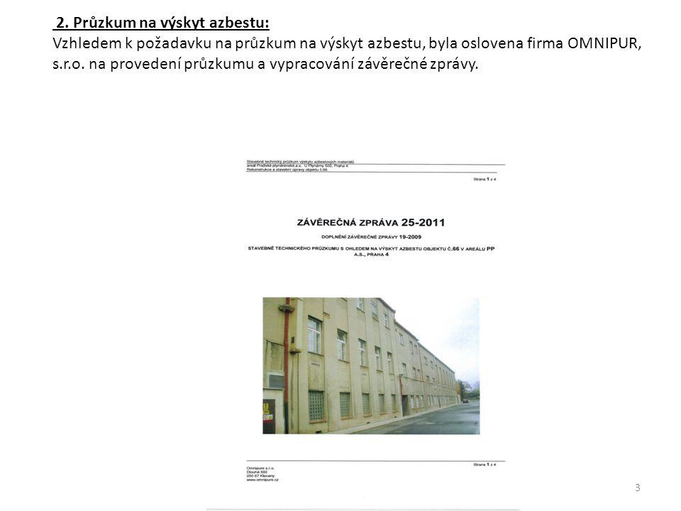 2. Průzkum na výskyt azbestu: Vzhledem k požadavku na průzkum na výskyt azbestu, byla oslovena firma OMNIPUR, s.r.o. na provedení průzkumu a vypracová