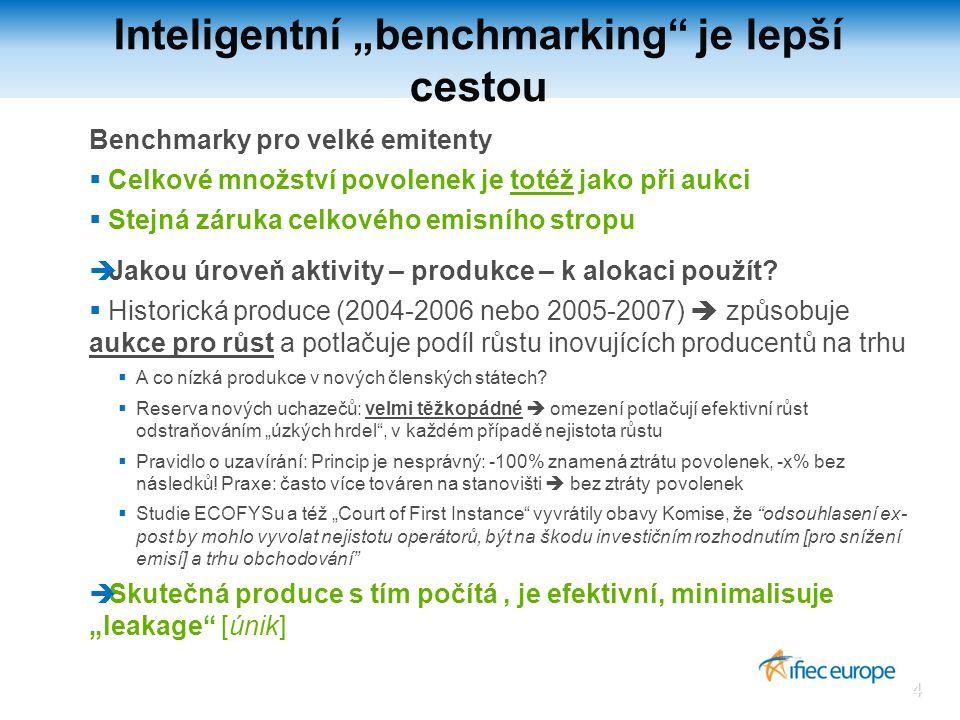 4 Benchmarky pro velké emitenty  Celkové množství povolenek je totéž jako při aukci  Stejná záruka celkového emisního stropu  Jakou úroveň aktivity – produkce – k alokaci použít.