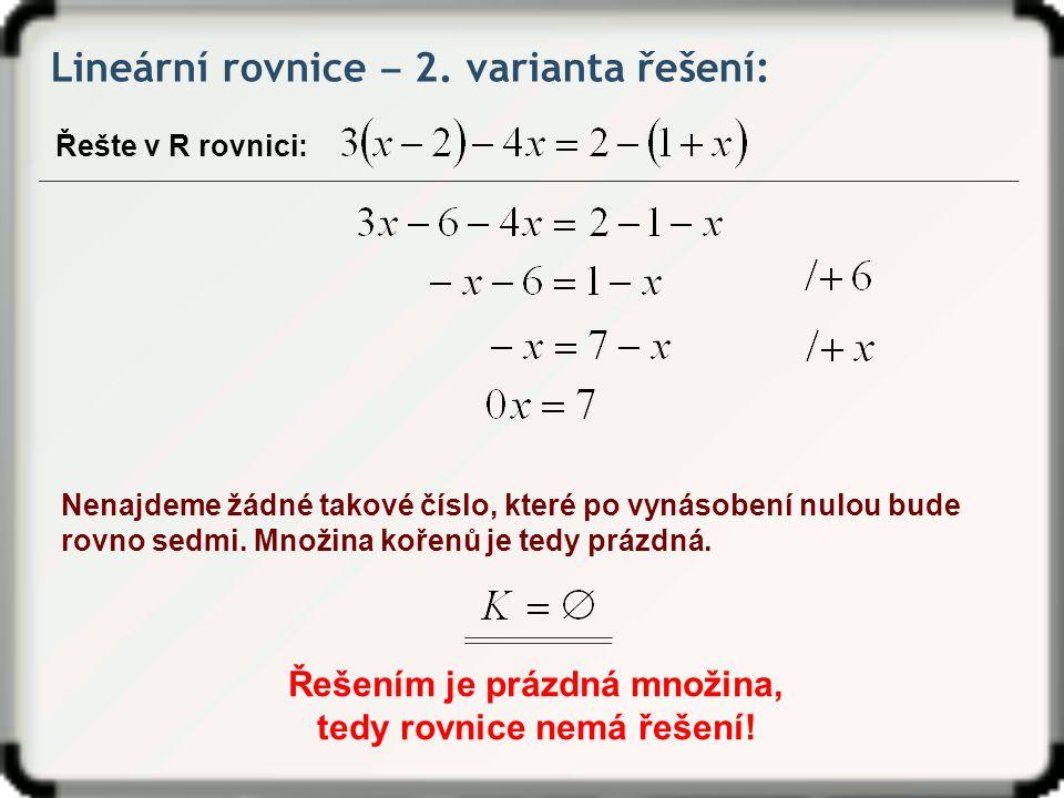 Lineární rovnice ‒ 2.