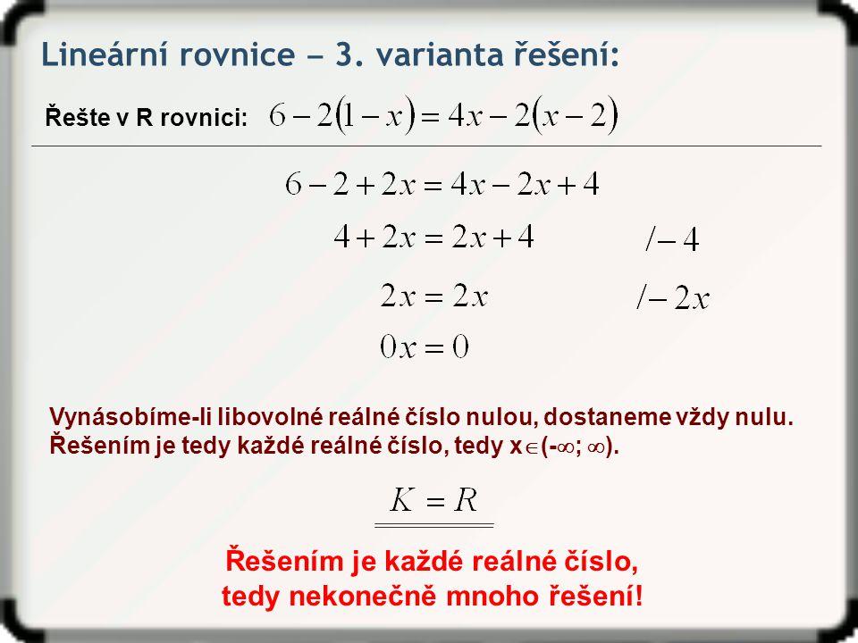 Lineární rovnice ‒ 3.
