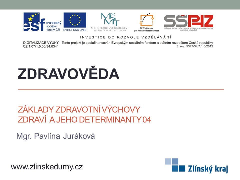 ZÁKLADY ZDRAVOTNÍ VÝCHOVY ZDRAVÍ A JEHO DETERMINANTY 04 Mgr. Pavlína Juráková ZDRAVOVĚDA www.zlinskedumy.cz