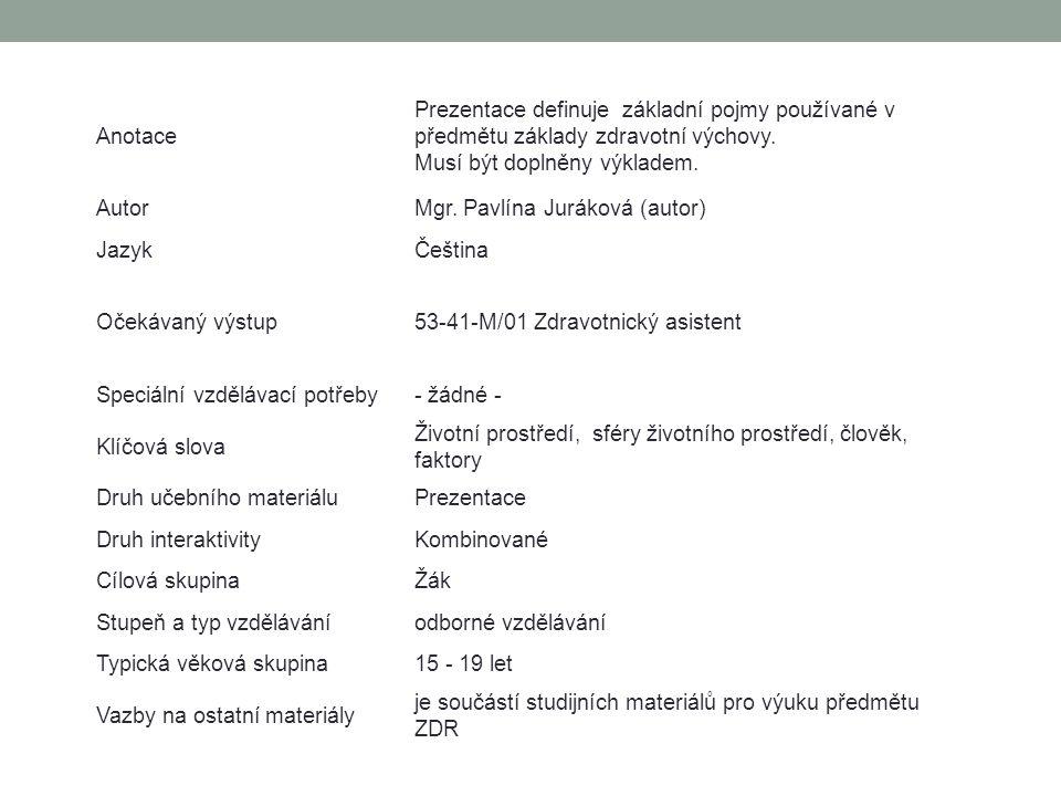 Anotace Prezentace definuje základní pojmy používané v předmětu základy zdravotní výchovy. Musí být doplněny výkladem. AutorMgr. Pavlína Juráková (aut