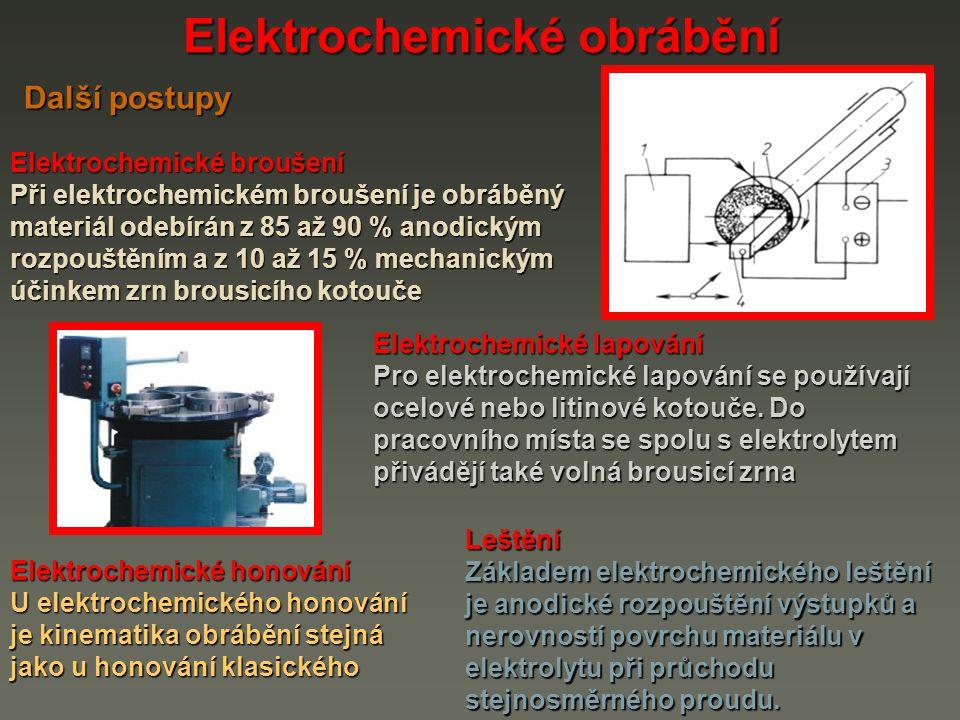 Elektrochemické obrábění Elektrochemické broušení Při elektrochemickém broušení je obráběný materiál odebírán z 85 až 90 % anodickým rozpouštěním a z