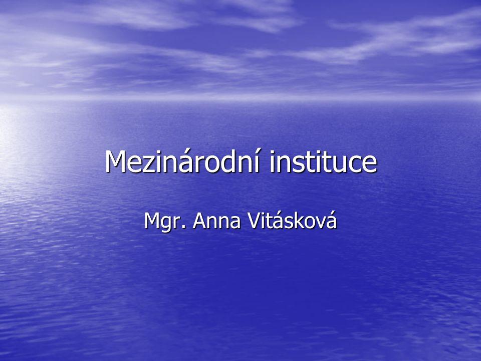 Mezinárodní instituce Mgr. Anna Vitásková