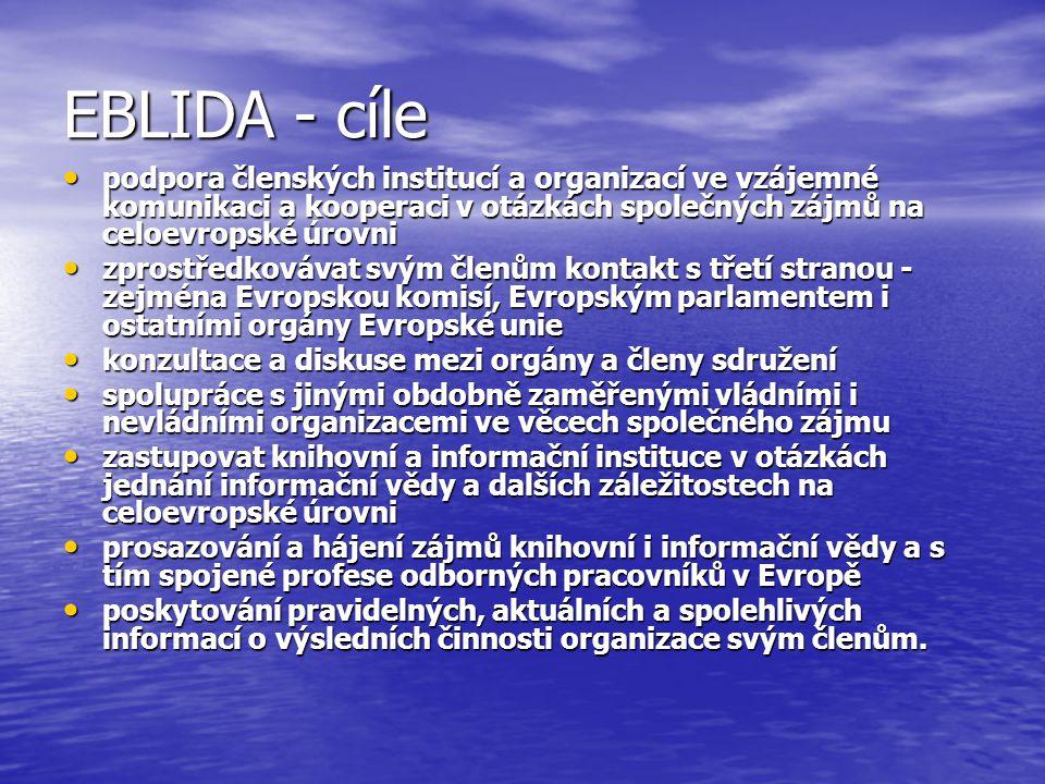EBLIDA - cíle podpora členských institucí a organizací ve vzájemné komunikaci a kooperaci v otázkách společných zájmů na celoevropské úrovni podpora členských institucí a organizací ve vzájemné komunikaci a kooperaci v otázkách společných zájmů na celoevropské úrovni zprostředkovávat svým členům kontakt s třetí stranou - zejména Evropskou komisí, Evropským parlamentem i ostatními orgány Evropské unie zprostředkovávat svým členům kontakt s třetí stranou - zejména Evropskou komisí, Evropským parlamentem i ostatními orgány Evropské unie konzultace a diskuse mezi orgány a členy sdružení konzultace a diskuse mezi orgány a členy sdružení spolupráce s jinými obdobně zaměřenými vládními i nevládními organizacemi ve věcech společného zájmu spolupráce s jinými obdobně zaměřenými vládními i nevládními organizacemi ve věcech společného zájmu zastupovat knihovní a informační instituce v otázkách jednání informační vědy a dalších záležitostech na celoevropské úrovni zastupovat knihovní a informační instituce v otázkách jednání informační vědy a dalších záležitostech na celoevropské úrovni prosazování a hájení zájmů knihovní i informační vědy a s tím spojené profese odborných pracovníků v Evropě prosazování a hájení zájmů knihovní i informační vědy a s tím spojené profese odborných pracovníků v Evropě poskytování pravidelných, aktuálních a spolehlivých informací o výsledních činnosti organizace svým členům.