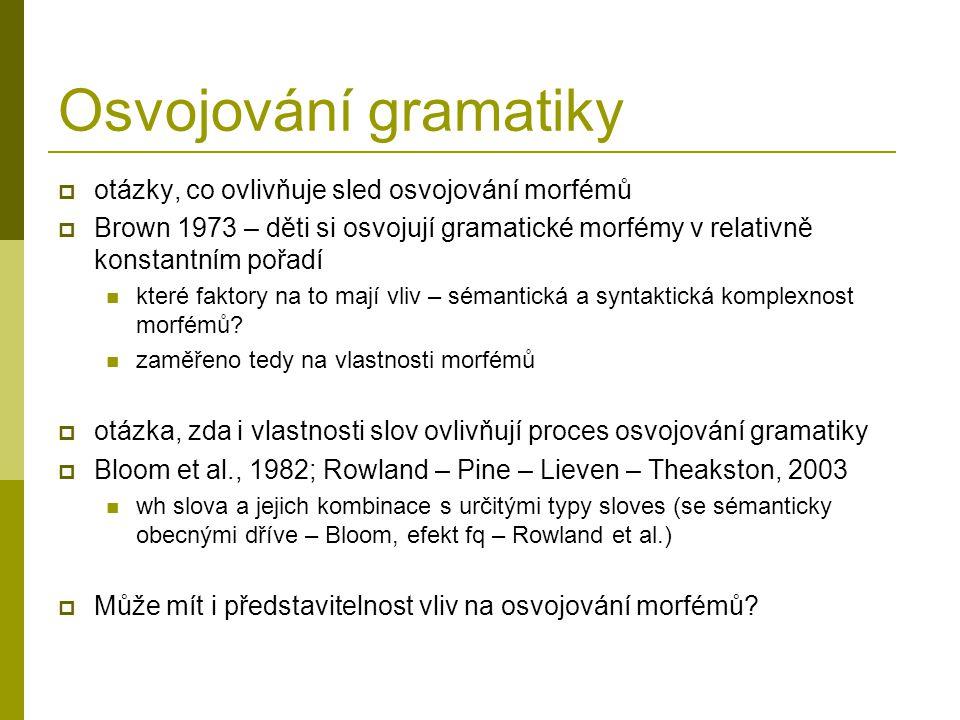 Osvojování gramatiky  otázky, co ovlivňuje sled osvojování morfémů  Brown 1973 – děti si osvojují gramatické morfémy v relativně konstantním pořadí které faktory na to mají vliv – sémantická a syntaktická komplexnost morfémů.