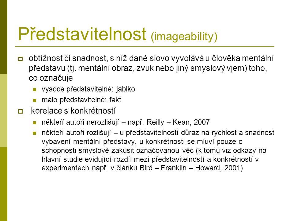 Představitelnost (imageability)  obtížnost či snadnost, s níž dané slovo vyvolává u člověka mentální představu (tj.