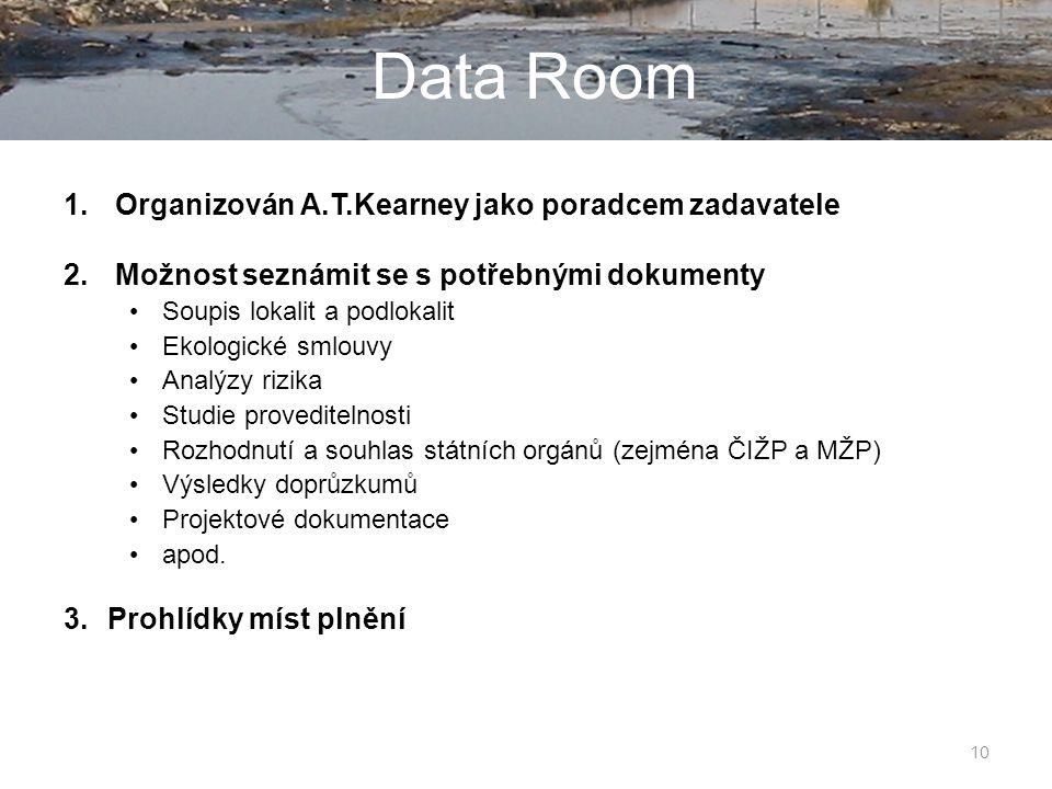 10 Data Room 1. Organizován A.T.Kearney jako poradcem zadavatele 2.