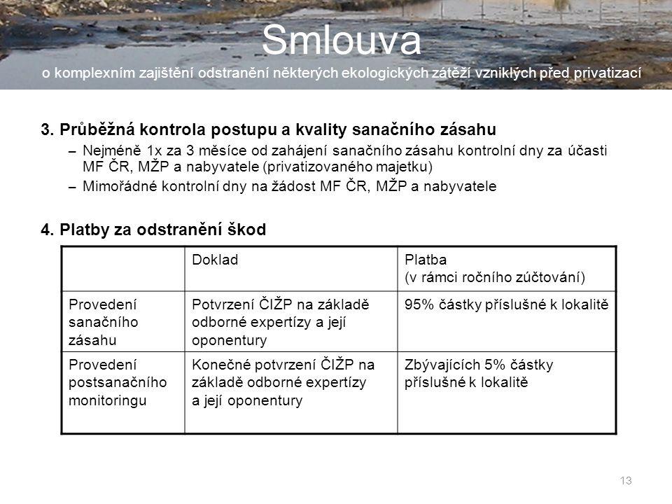 14 Smlouva o komplexním zajištění odstranění některých ekologických zátěží vzniklých před privatizací 5.