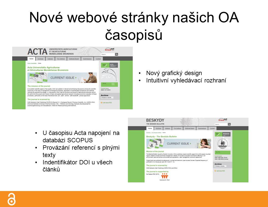 Nové webové stránky našich OA časopisů Nový grafický design Intuitivní vyhledávací rozhraní U časopisu Acta napojení na databázi SCOPUS Provázání referencí s plnými texty Indentifikátor DOI u všech článků