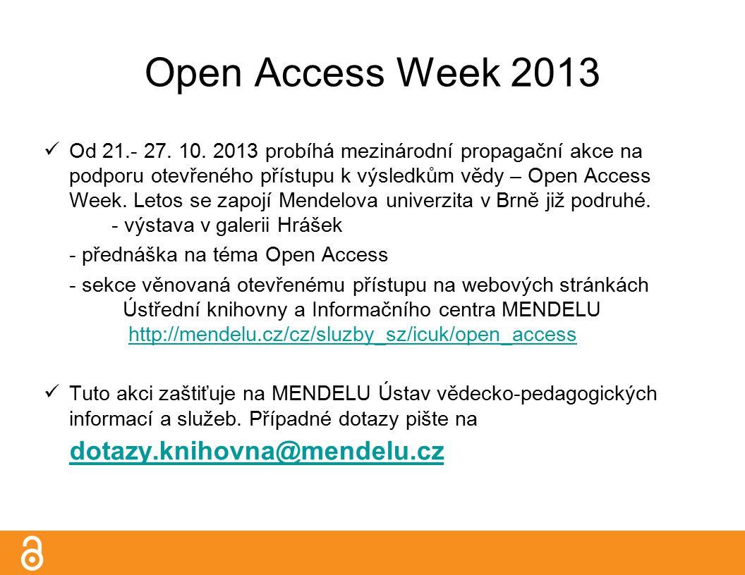 Open Access Week 2013 Od 21.- 27. 10.