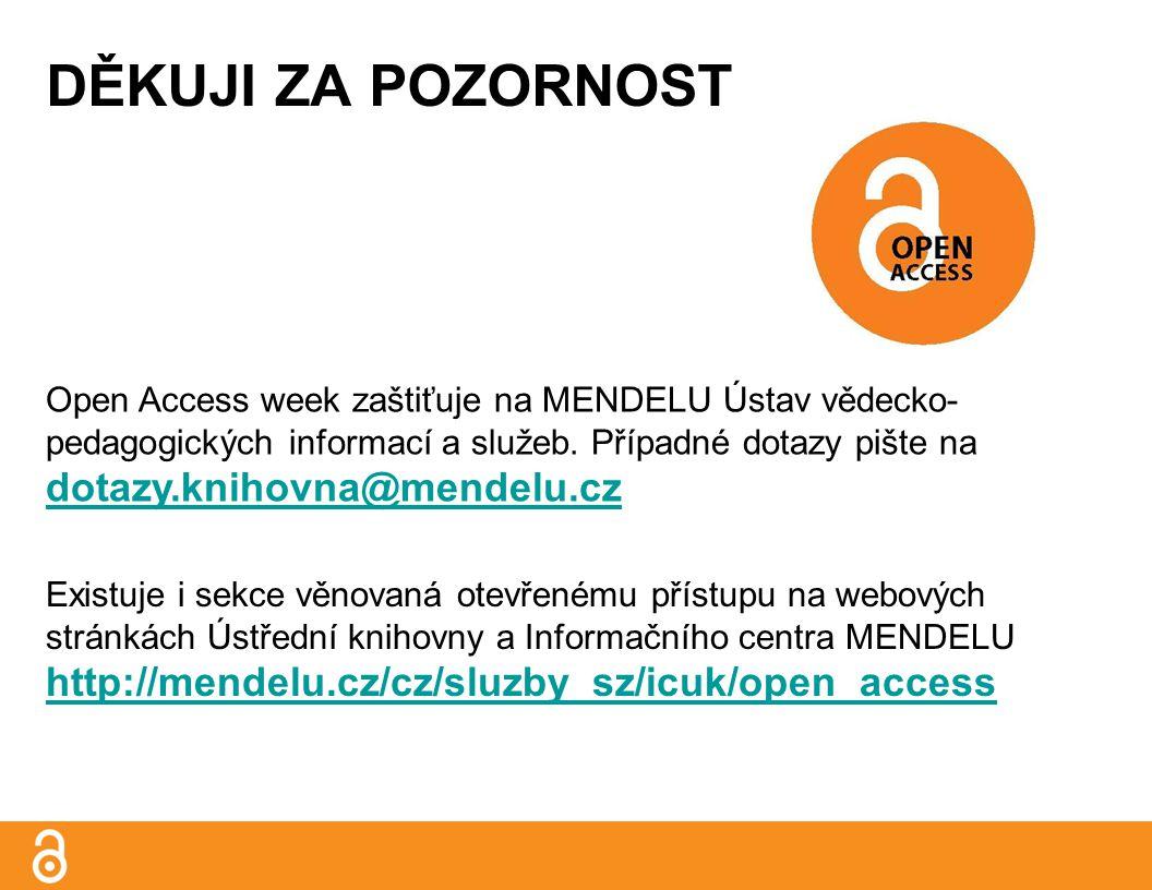 DĚKUJI ZA POZORNOST Open Access week zaštiťuje na MENDELU Ústav vědecko- pedagogických informací a služeb.