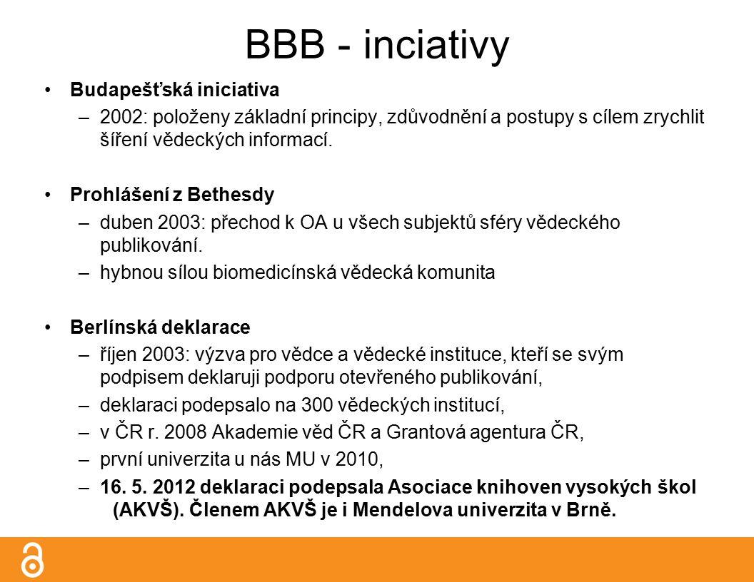 BBB - inciativy Budapešťská iniciativa –2002: položeny základní principy, zdůvodnění a postupy s cílem zrychlit šíření vědeckých informací.
