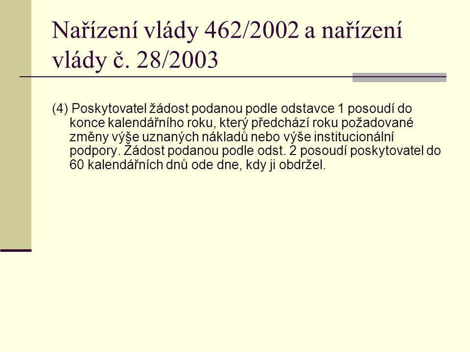 Nařízení vlády 462/2002 a nařízení vlády č. 28/2003 (4) Poskytovatel žádost podanou podle odstavce 1 posoudí do konce kalendářního roku, který předchá