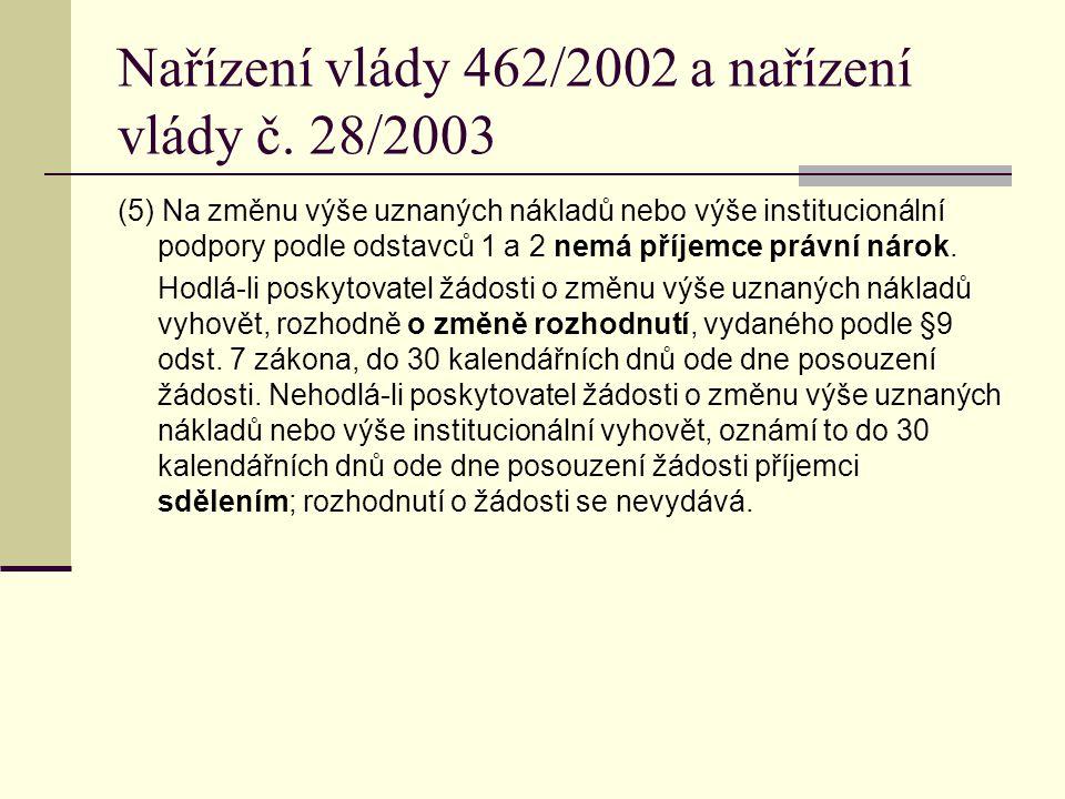 Nařízení vlády 462/2002 a nařízení vlády č. 28/2003 (5) Na změnu výše uznaných nákladů nebo výše institucionální podpory podle odstavců 1 a 2 nemá pří