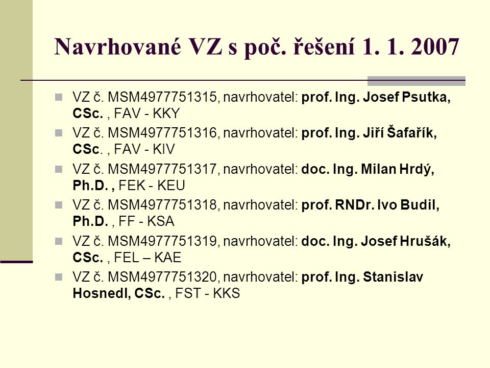 Navrhované VZ s poč. řešení 1. 1. 2007 VZ č. MSM4977751315, navrhovatel: prof. Ing. Josef Psutka, CSc., FAV - KKY VZ č. MSM4977751316, navrhovatel: pr