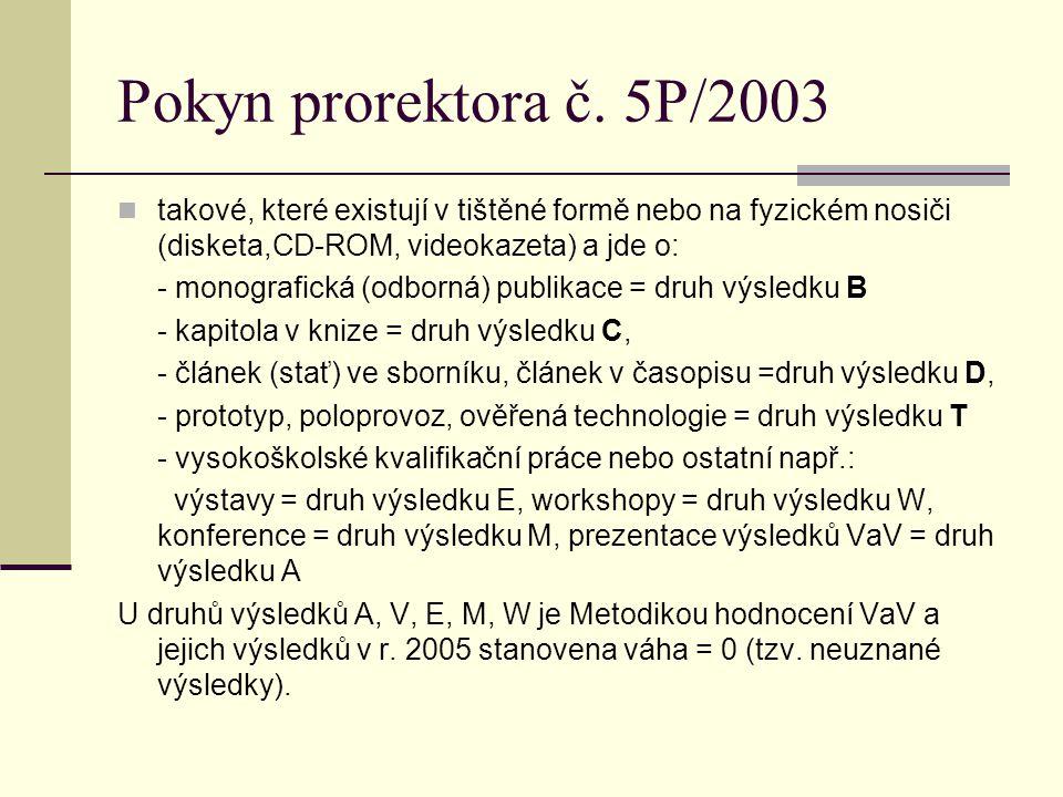 Pokyn prorektora č. 5P/2003 takové, které existují v tištěné formě nebo na fyzickém nosiči (disketa,CD-ROM, videokazeta) a jde o: - monografická (odbo