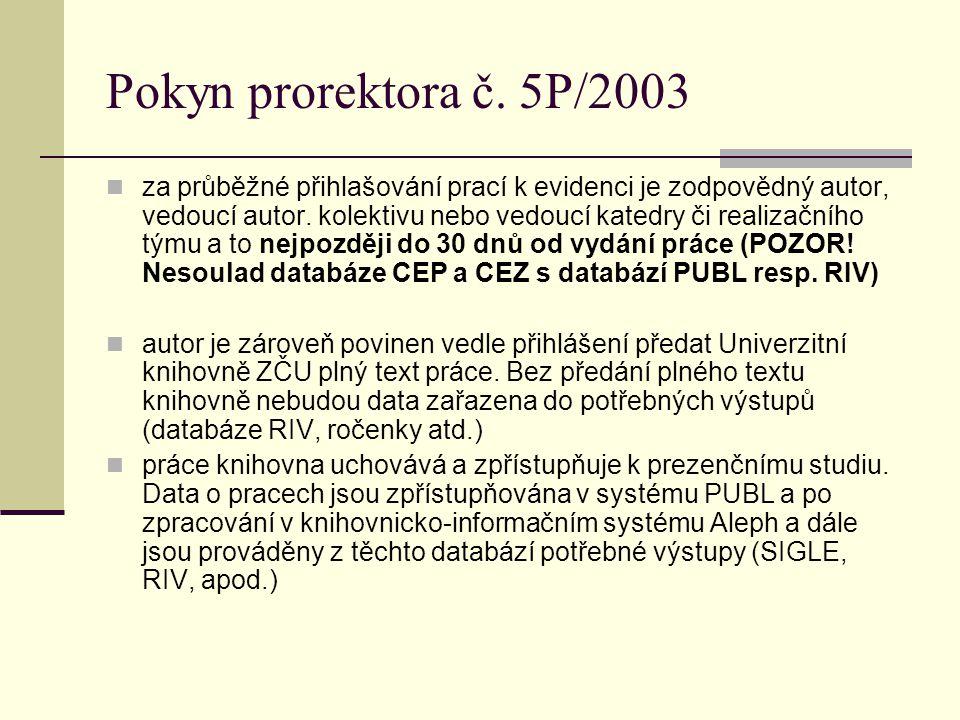 Pokyn prorektora č. 5P/2003 za průběžné přihlašování prací k evidenci je zodpovědný autor, vedoucí autor. kolektivu nebo vedoucí katedry či realizační
