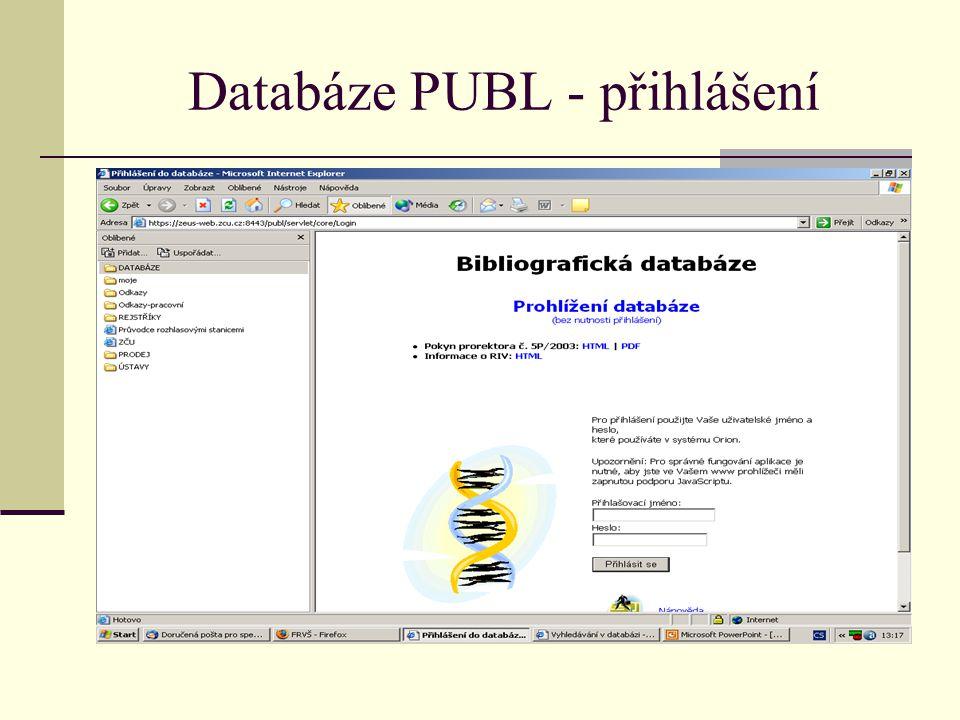 Databáze PUBL - přihlášení