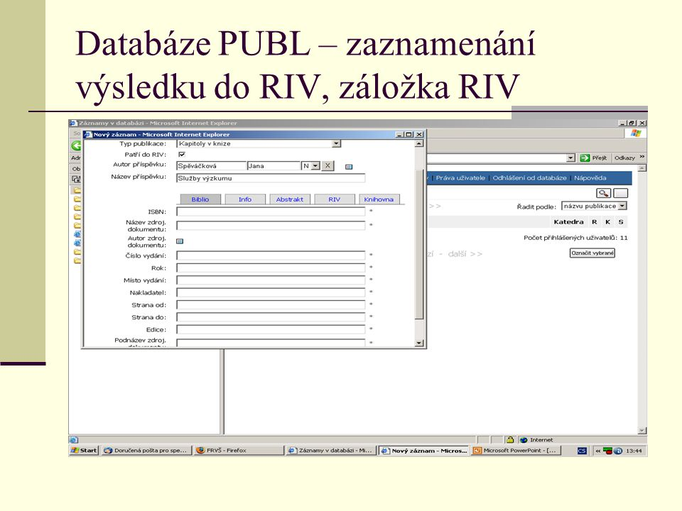 Databáze PUBL – zaznamenání výsledku do RIV, záložka RIV