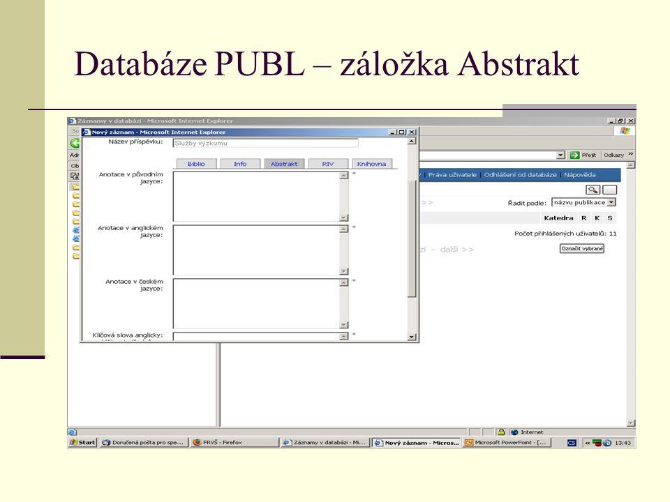 Databáze PUBL – záložka Abstrakt