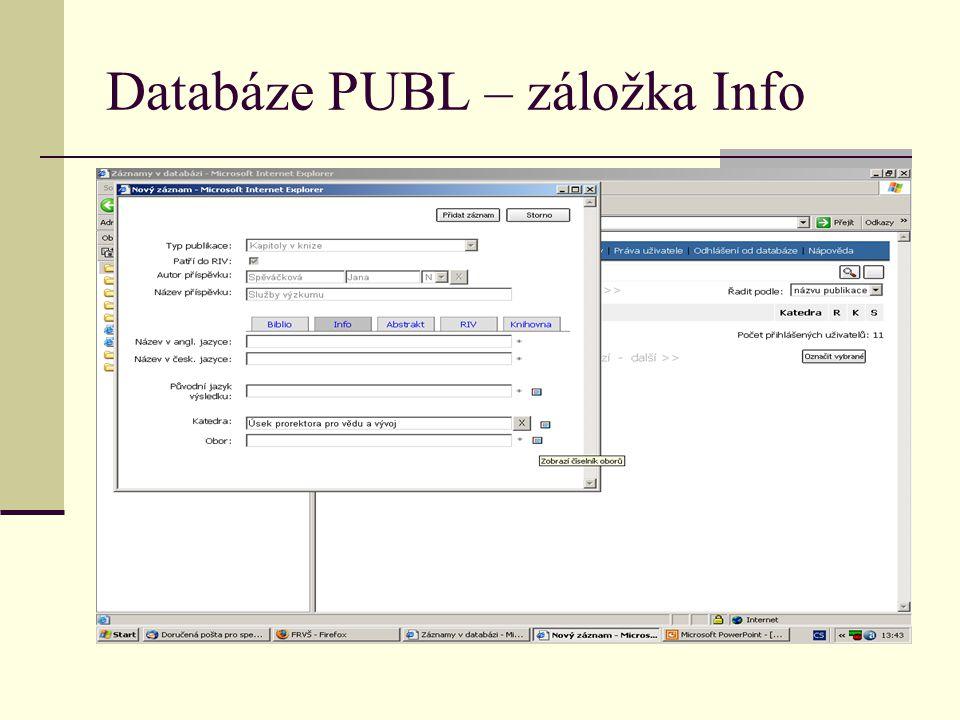 Databáze PUBL – záložka Info