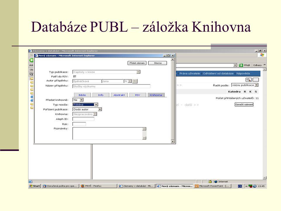 Databáze PUBL – záložka Knihovna