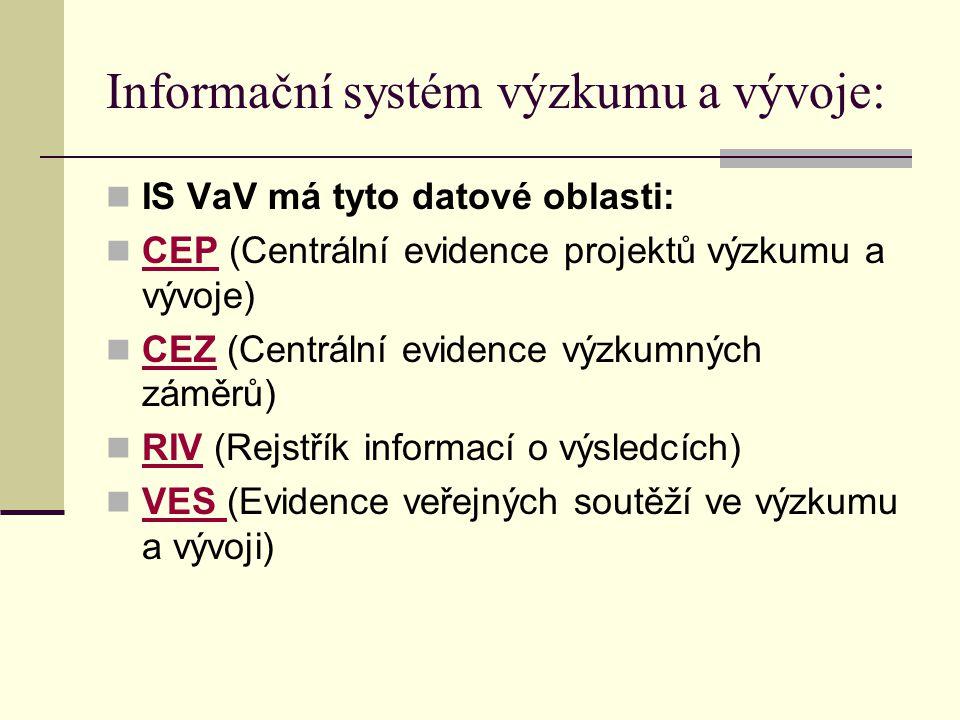 Informační systém výzkumu a vývoje: IS VaV má tyto datové oblasti: CEP (Centrální evidence projektů výzkumu a vývoje) CEP CEZ (Centrální evidence výzk