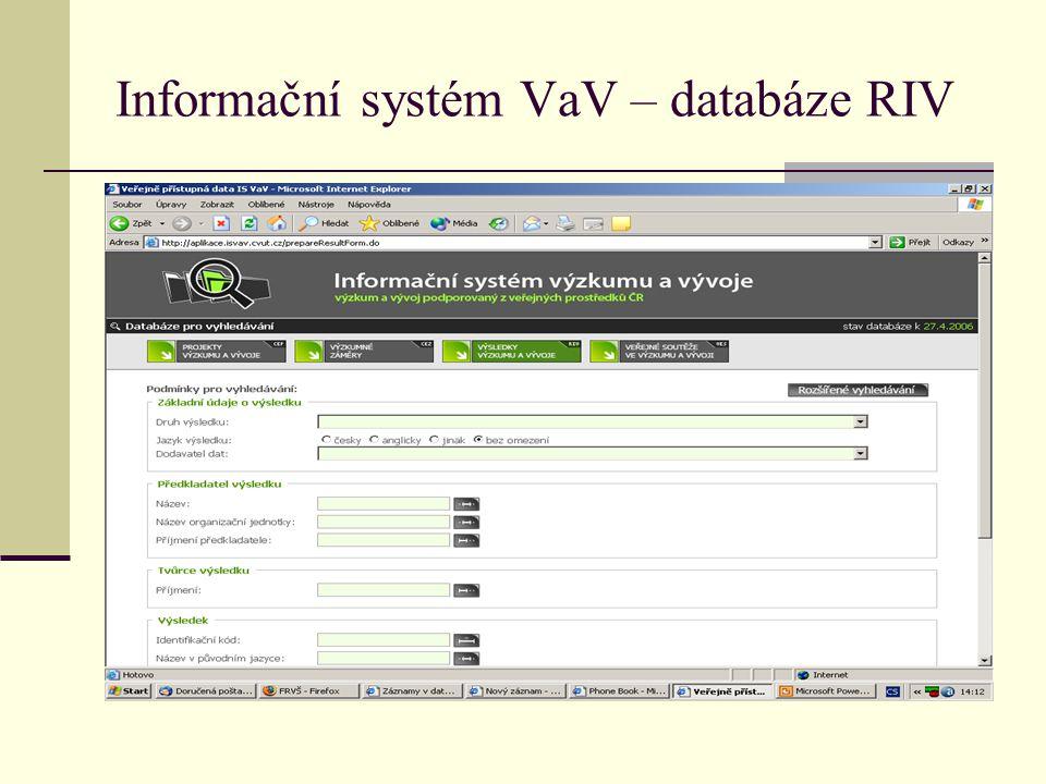 Informační systém VaV – databáze RIV