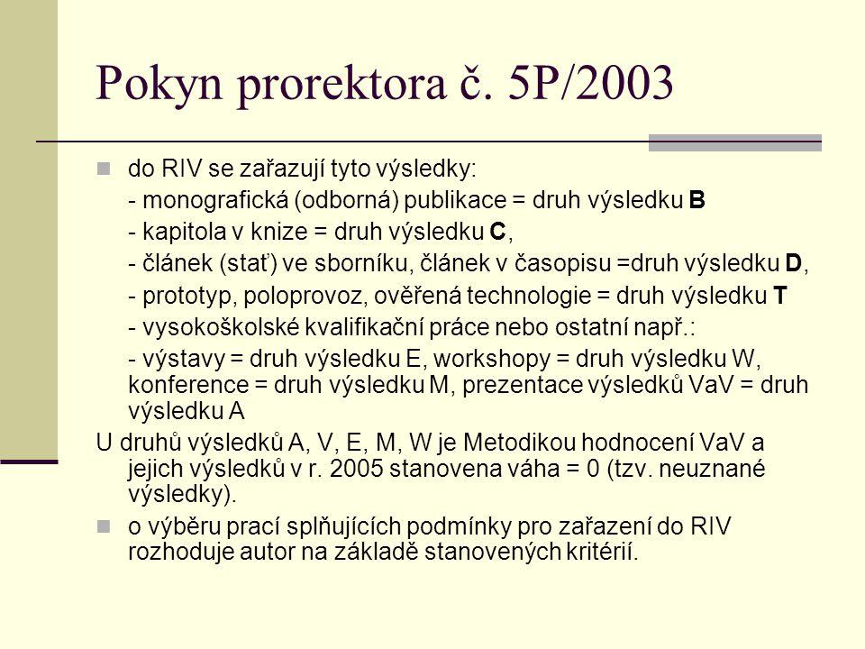 Pokyn prorektora č. 5P/2003 do RIV se zařazují tyto výsledky: - monografická (odborná) publikace = druh výsledku B - kapitola v knize = druh výsledku