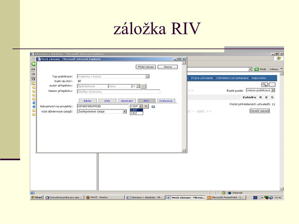 záložka RIV