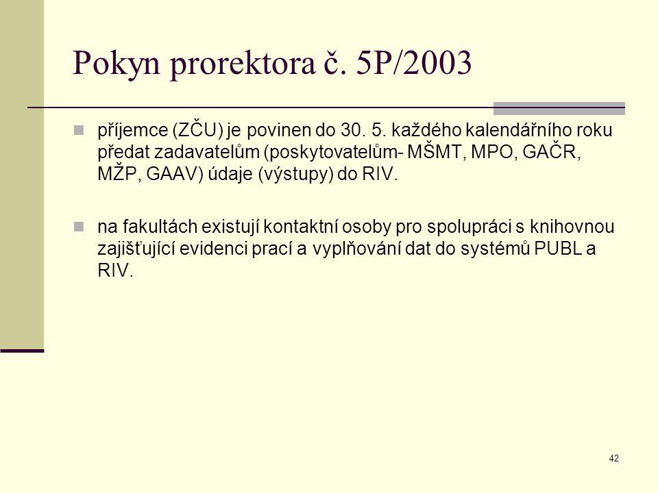 42 Pokyn prorektora č. 5P/2003 příjemce (ZČU) je povinen do 30. 5. každého kalendářního roku předat zadavatelům (poskytovatelům- MŠMT, MPO, GAČR, MŽP,