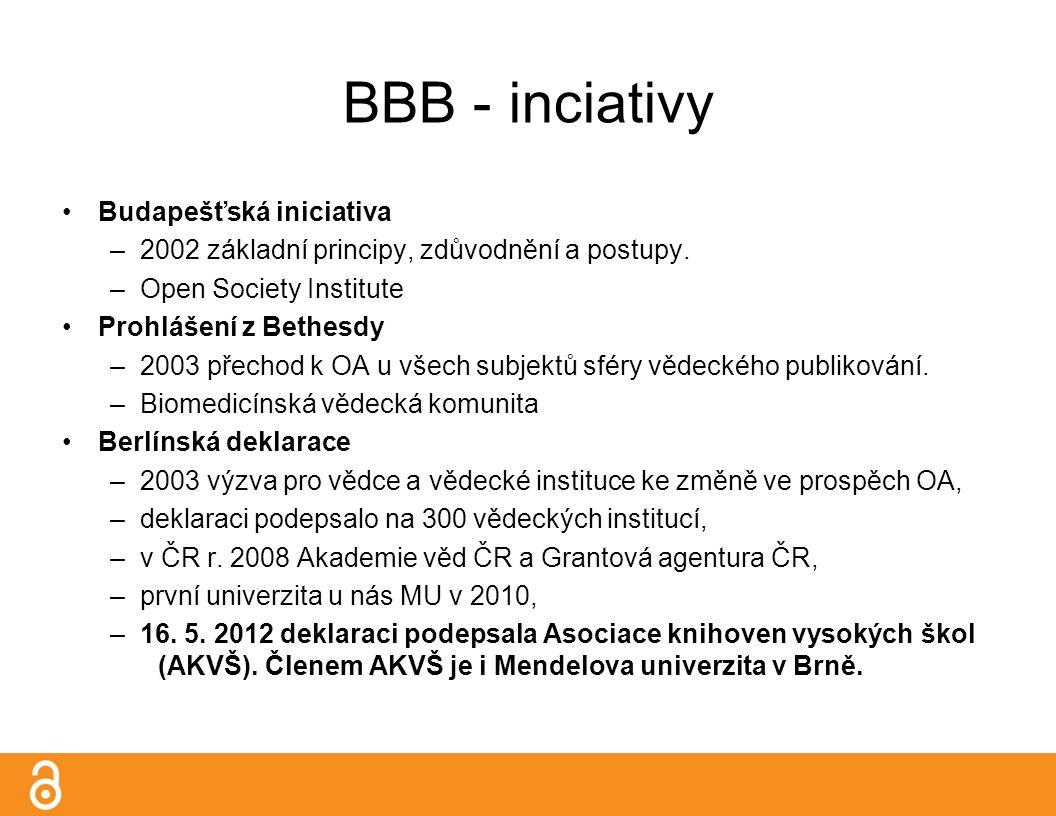 BBB - inciativy Budapešťská iniciativa –2002 základní principy, zdůvodnění a postupy.