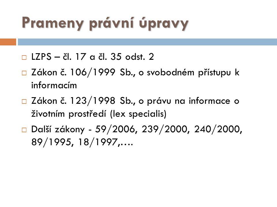 Prameny právní úpravy  LZPS – čl.17 a čl. 35 odst.
